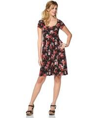 Cheer Damen Jerseykleid mit Blumendruck oder uni schwarz 34,36,38,40,42,44,46