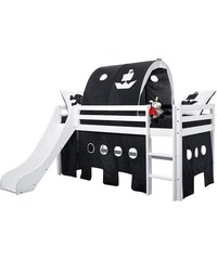 Kinder HOPPEKIDS Halbhohes Bett inkl. Rutsche mit Absturzschutzseiten Pirat