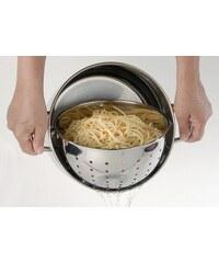 Pastatopf mit Glasdeckel und integriertem Sieb mit Henkel BEYOND silberfarben