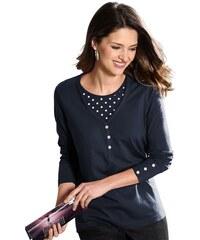 CLASSIC BASICS Damen Classic Basics Shirt mit Einsatz im Tupfendessin blau 36,38,40,42,44,46,48,50,52,54