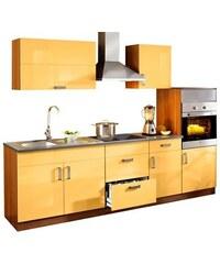 Baur Küchenzeile Reno 270 cm breit mit Cerankochfeld orange