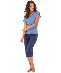 H.I.S Capripyjamer mit gestreiftem T-Shirt mit Kräuselrändern blau 32/34,36/38,40/42,44/46,48/50,52/54,56/58