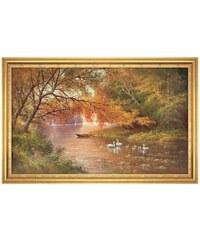 Wandbild mit Rahmen Swan Family II Artland orange 113 x 73 cm