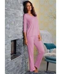 Lascana Edler Pyjama mit Raffung & Spitzenkante rosa 34,36,38,40,42,44