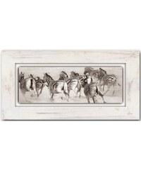 HOME AFFAIRE Holzbild Zebras 80/40 cm natur
