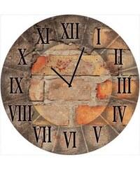 Artland Runde Wanduhr auf Float-Glas Antique clock Größe: ø 35 cm braun
