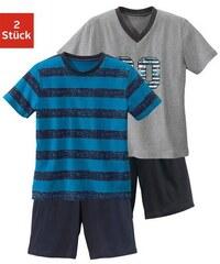 Shorty (2 Stück) Pyjama s in kurzer Form mit lässigem Druck und gedruckten Streifen Baur Farb-Set 110/116,134/140,146/152,158/164,170/176,182