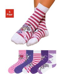 Kindersocken (5 Paar) in 5 farbenfrohen Designs Baur rosa 19-22,23-26,27-30,31-34,35-38,39-42
