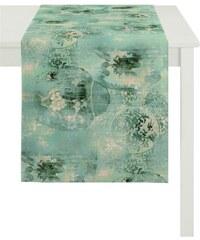 APELT Tischläufer Jade Baumwolldruck blau 48x140 cm