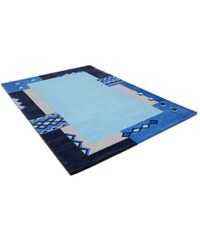 Teppich Florida 3193 handgetuftet Wolle THEKO blau 10 (Ø 200 cm),2 (B/L: 70x140 cm),3 (B/L: 120x180 cm),31 (B/L: 90/160 cm),4 (B/L: 160x230 cm),5 (B/L: 200x200 cm, Achteck),6 (B/L: 190x290 cm),9 (Ø 15