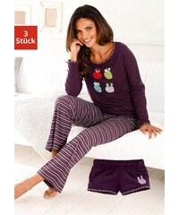 Pyjamaset (3 tlg.) im Streifelook mit Eulenprint Vivance Collection lila 32/34,36/38,40/42,44/46,48/50,52/54,56/58