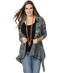 SHEEGO TREND Damen Trend Strickjacke in Zipfelform schwarz 44/46,48/50,52/54,56/58