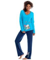 PEANUTS PEANUTS Pyjama mit Snoopyprint & Kräuselrändern blau 32/34,36/38,40/42,44/46