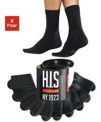 H.I.S Schwarze Basic-Socken (8 Paar) in der Geschenkdose schwarz 35-38,39-42,43-46,47-48