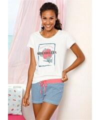 Shorty mit gestreifter Shorts & bedrucktem T-Shirt H.I.S weiß 32/34,36/38,40/42