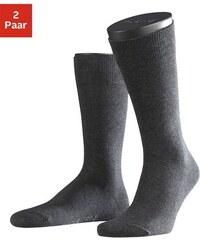 Socken Family (2 Paar) mit extrahohem Baumwollanteil Falke grau 39-42,43-46,47-50