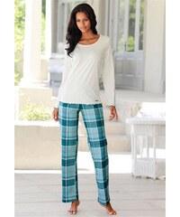 Lascana Modischer Pyjama kuschelig weiche Flanellqualität in klassischem Karo-Design natur 32,34,36,38,40,42,44,46