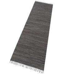 THEKO Läufer Happy Cotton Fleckerl Melange-Effekt handgewebt reine Baumwolle grau 12 (B/L: 70x250 cm)
