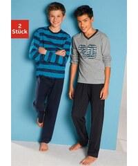 Baur Pyjamas (2 Stück) mit lässigem Druck und gedruckten Streifen Farb-Set 110/116,122/128,134/140,146/152,158/164,170/176,182