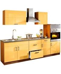Küchenzeile Reno 270 cm breit mit Edelstahl-Kochmulde Baur orange