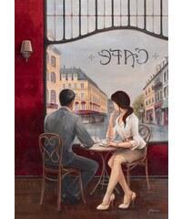 Artland Wandbild auf Leinwand Café rot 60 x 80 cm