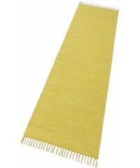 Läufer Happy Cotton Fleckerl Melange-Effekt handgewebt reine Baumwolle THEKO gelb 12 (B/L: 70x250 cm)