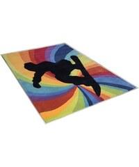 THEKO Teppich Snowboarder handgearbeitet bunt 2 (B/L: 100x160 cm),3 (B/L: 120x180 cm)