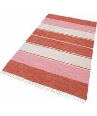 Teppich Stripe Cotton handweb Fleckerl THEKO rot 2 (B/L: 60x120 cm),3 (B/L: 120x180 cm),4 (B/L: 160x230 cm)