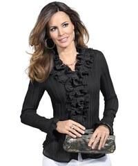 Damen Lady Bluse mit Rüschen am Kragen LADY schwarz 36,38,40,42,44,46,48,50,52,54