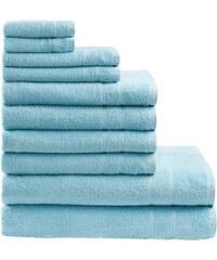 Handtuch Set Inga mit feiner Bordüre MY HOME blau 10tlg.-Set (siehe Artikeltext)