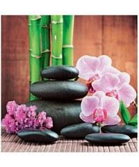 Artland Glasbild Spa concept with zen stones and orchid rosa 30 x 30 cm