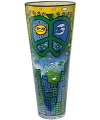 Vase Peace Love and Flowers Goebel bunt