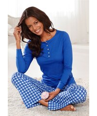 Pyjama HIS Langarmshirt mit Knopfleiste weite Hose mit Karomuster H.I.S blau 32/34,36/38,40/42,44/46