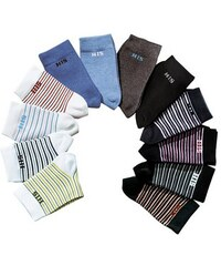 Basic-Socken (4 Paar) mit eingestricktem Markenlogo H.I.S bunt 35-38,39-42,43-46