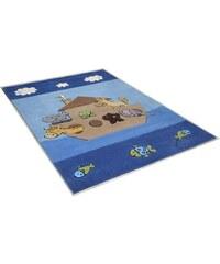 THEKO Kinder-Teppich Animals on Tour handgearbeitet blau 2 (B/L: 100x160 cm),3 (B/L: 120x180 cm)