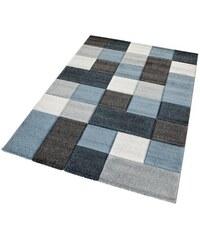 Teppich Merinos DRONNE handgearbeiteter Konturenschnitt gewebt MERINOS blau 2 (B/L: 80x150 cm),3 (B/L: 120x170 cm),4 (B/L: 160x230 cm),6 (B/L: 200x290 cm)
