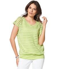 Vivance Collection Damen 2-in-1-Shirt Streifen in Chiffon und Jersey grün 34,36,38,42,44,46