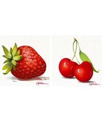 Wandbild-Set Erdbeere und Kirsche (2tlg.) PREMIUM PICTURE rot