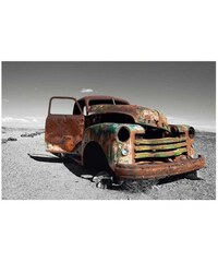 Wandbild Wrecked Truck PREMIUM PICTURE grau