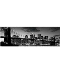 Wandbild New York - Brooklyn Bridge At Dusk PREMIUM PICTURE schwarz
