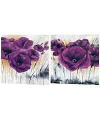 PREMIUM PICTURE Wandbild-Set Mohn (2tlg.) lila