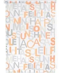 Seitenzugrollo Lichtblick Klemmfix Dekor Happy Words Lichtschutz Fixmaß ohne Bohren LICHTBLICK orange 1 (H/B: 180/45 cm),2 (H/B: 180/60 cm),3 (H/B: 180/70 cm),4 (H/B: 180/80 cm),5 (H/B: 180/90 cm),6 (