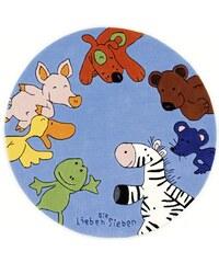 Kinder-Teppich Rund Die Lieben Sieben -2195 handgetuftet Konturenschnitt Die Lieben Sieben blau 9 (Ø 130 cm)