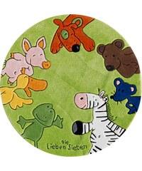 Die Lieben Sieben Kinder-Teppich Rund Die Lieben Sieben -2195 handgetuftet Konturenschnitt grün 9 (Ø 130 cm)