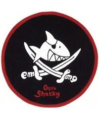 Kinder-Teppich Rund Capt n Sharky SH-2360-01 handgetuftet Konturenschnitt Capt'n Sharky schwarz 9 (Ø 130 cm)