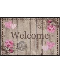 SALONLOEWE Läufer Welcome Roses waschbar In- und Outdoor mit rutschhemmender Beschichtung bunt 2 (B/L: 75x120 cm)