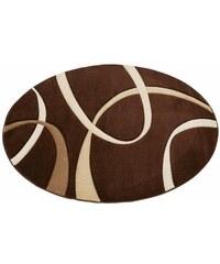 MY HOME Teppich rund Bilbao handgearbeiteter Konturenschnitt Hoch-Tief-Struktur braun 10 (Ø 190 cm),9 (Ø 140 cm)