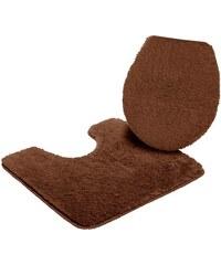 MY HOME Badematte Stand WC-Set Merida Höhe 32 mm rutschhemmender Rücken braun 9 (2-tlg.Stand-WC-Set)
