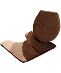 MY HOME Badematte Stand WC-Set Josie Microfaser Höhe 20 mm rutschhemmender Rücken braun 9 (2 tlg. Stand WC Set)