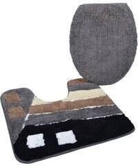 KINZLER Badematte Stand WC-Set Gembloux Höhe 20 mm Mikrofaser rutschhemmender Rücken grau 9 (2 -tlg. Stand-WC-Set cm)